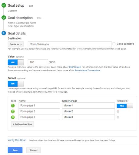 How to set up destination goals in Google Analytics