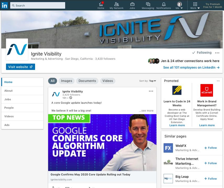 Ignite Visibility LinkedIn page