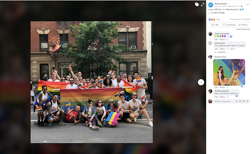 Warby Parker post using hashtags for Pride