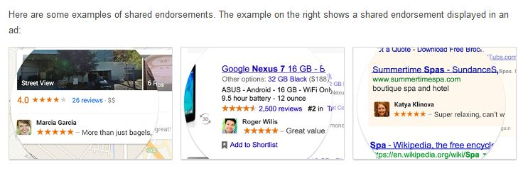 Google + Shared Endorsements