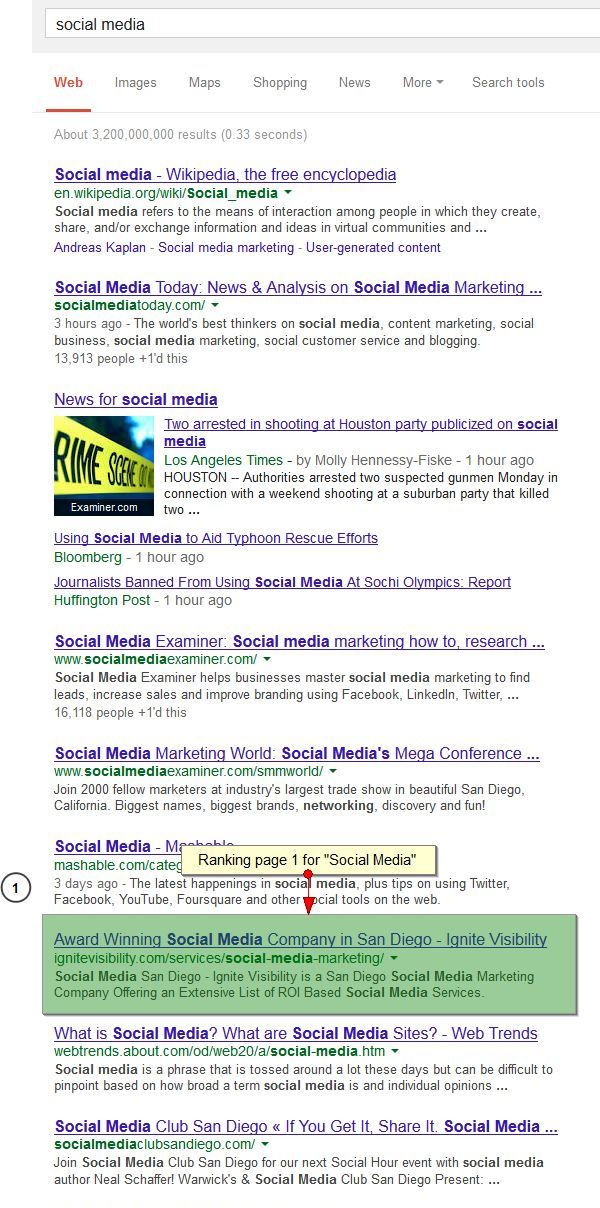 Ranking Page 1 for Social Media