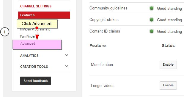Disable Ads on YouTube Click Advanced
