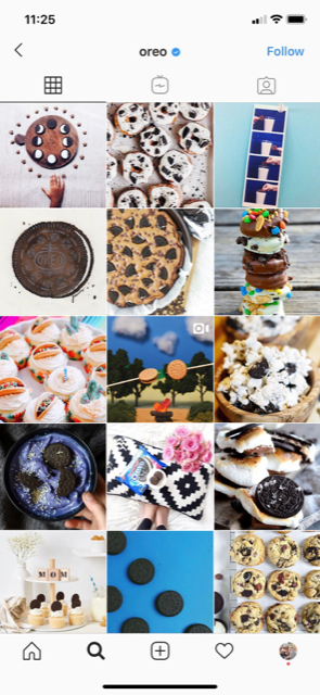 Oreo's Instagram features creative recipes and visuals