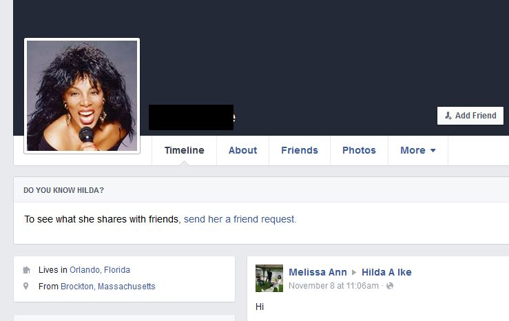 Example Fake Facebook Account