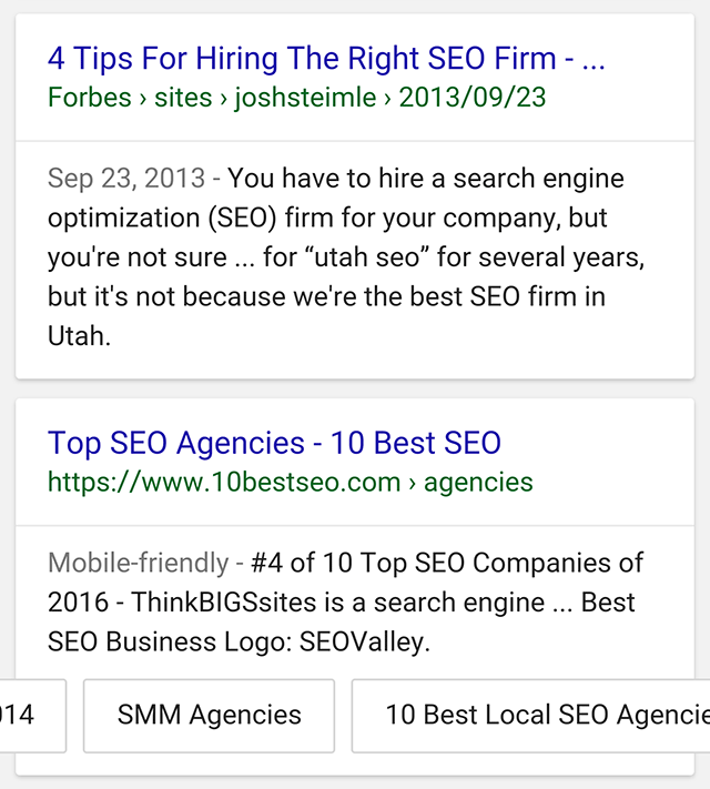 Google is Testing Sitelinks on Snippet Cards