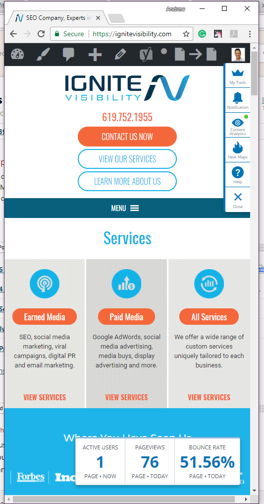 Just view your landing page on a desktop platform and shrink the window down to the size of various mobile devices.