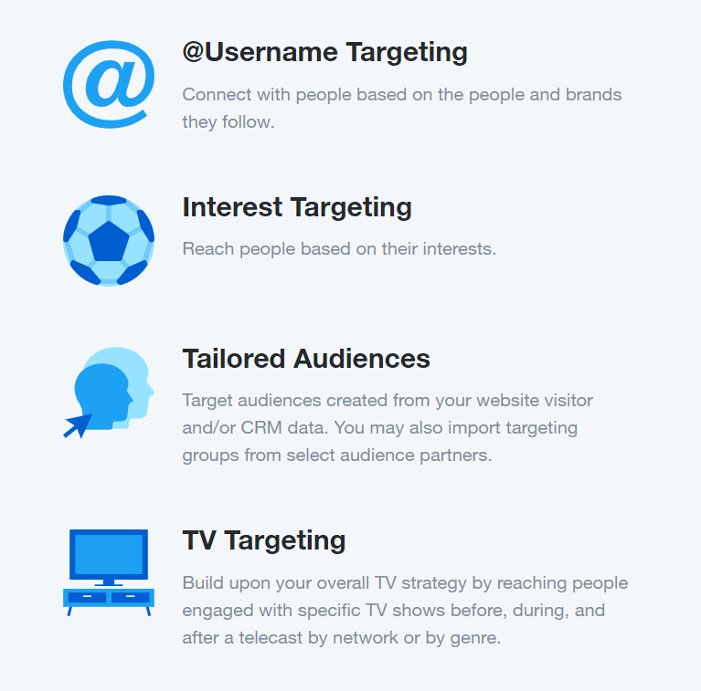 Online ads: Twitter ads offer many targeting options