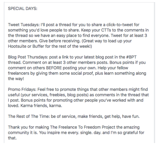 facebook community post examples