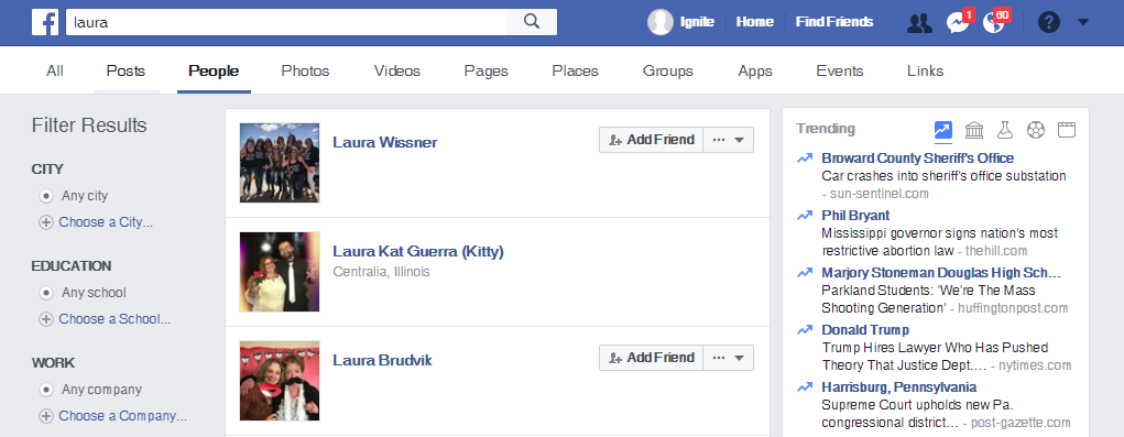 facebook search for friends
