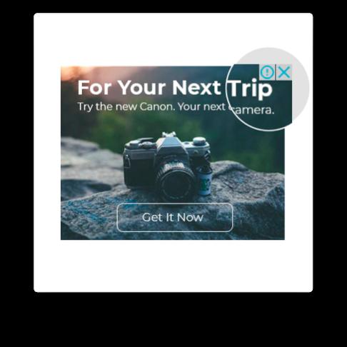 Native advertising clickable icon example
