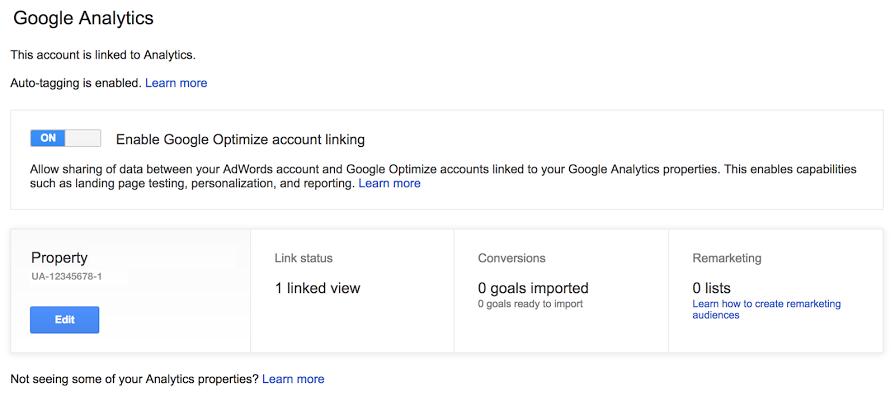 Linking Google Optimize to Google Analytics