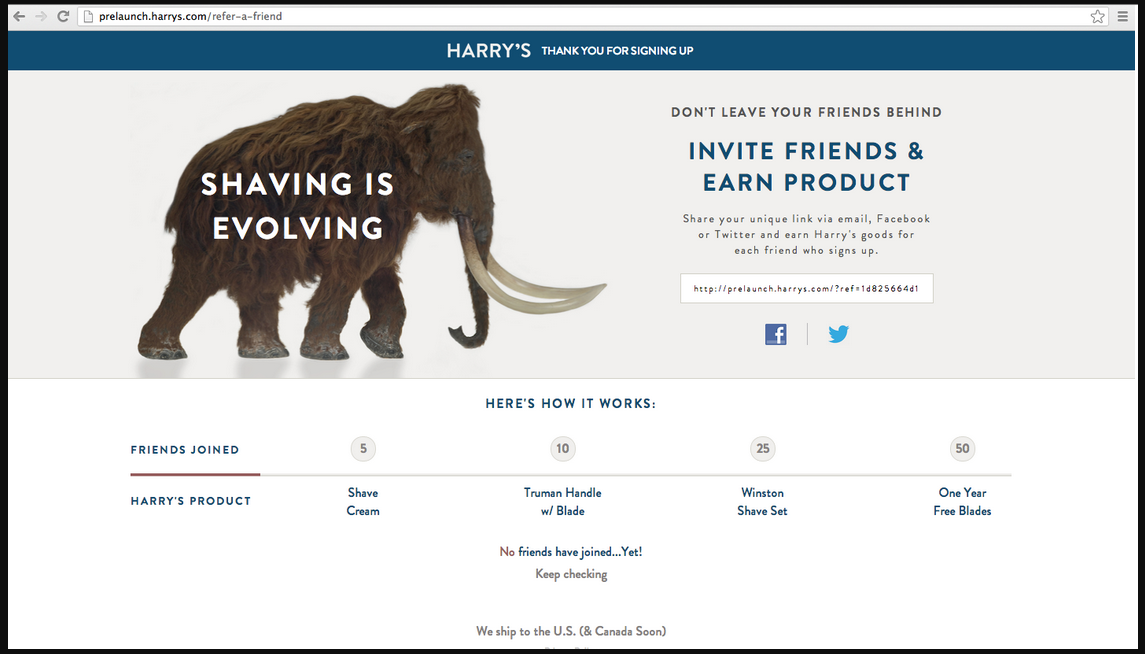 Harry's new product launch landing page part 2
