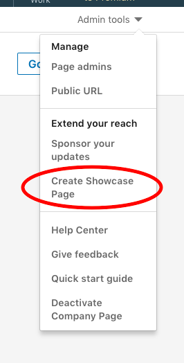 Step 2: select Create Showcase Page