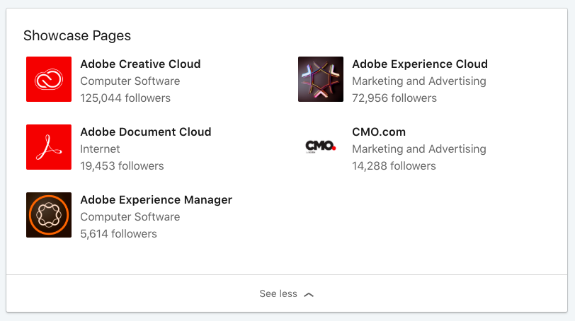 Adobe's LinkedIn Showcase pages
