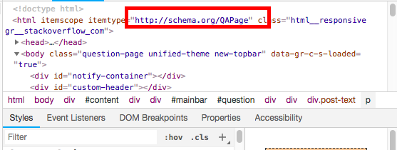 An example of Question & Answer schema markup