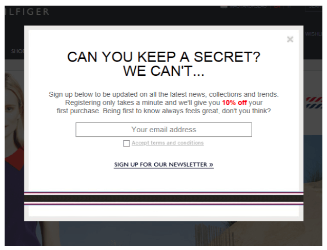 Email campaign: Include incentives in your popups
