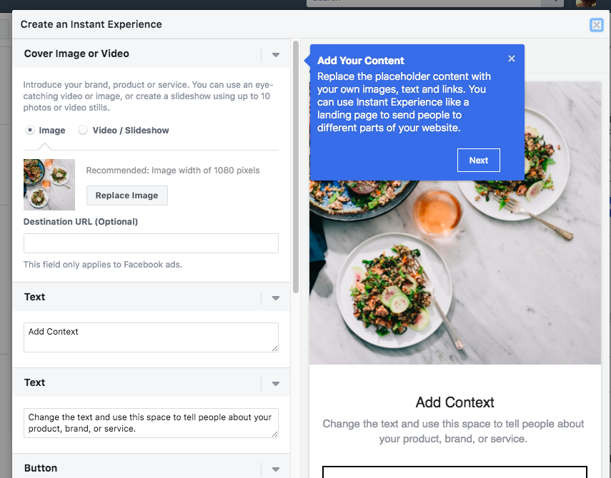 Facebook Instant Experiences: add your content