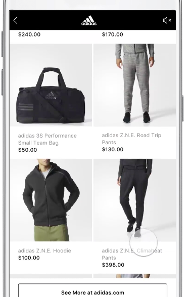 Facebook Instant Experience ads: Instant Storefront
