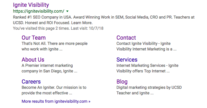 SERP Features: site links