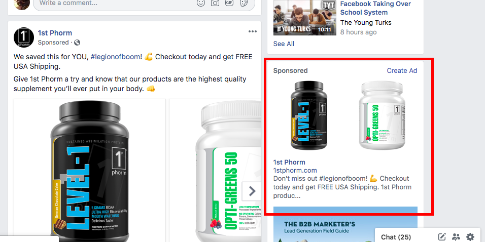 Facebook ad types: right column ads