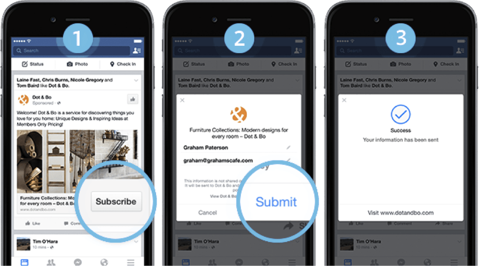 Facebook ad types: lead ads