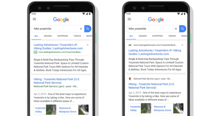 Google now features favicons in mobile search results