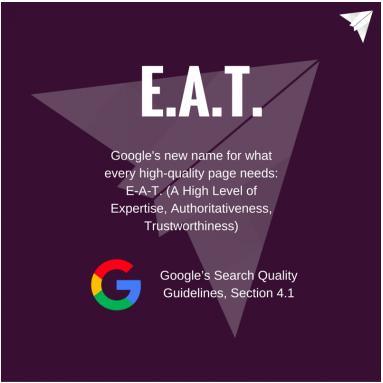 E-A-T: Expertise, Authority, Trustworthiness. Image courtesy of SEMRush