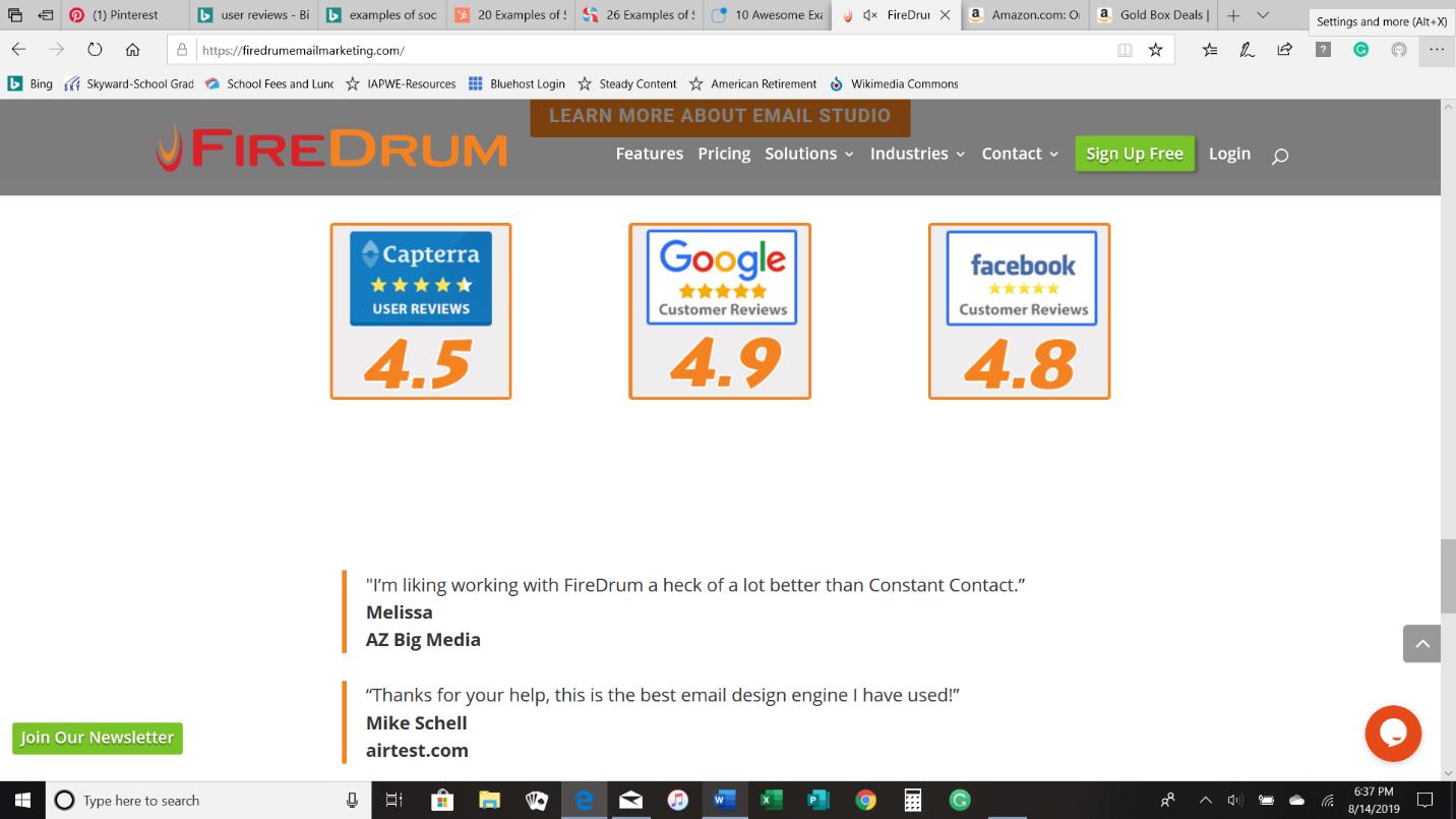 FireDrum uses peer review as social proof