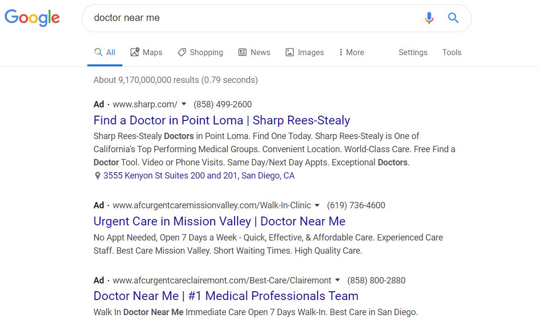 "Example of Ads for ""near me"" SEO Searches"