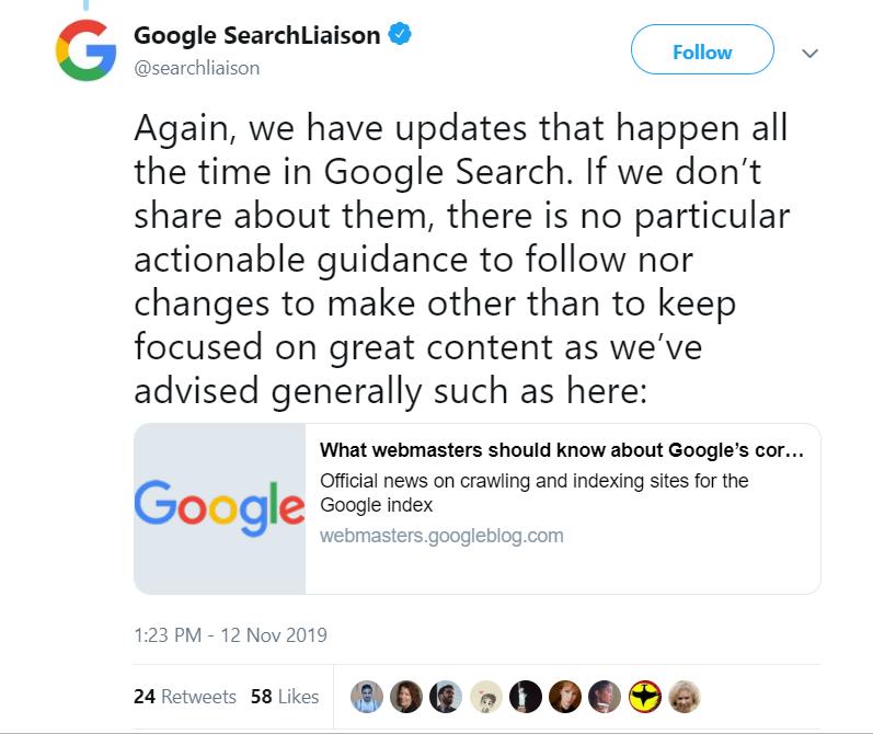 Google on Update