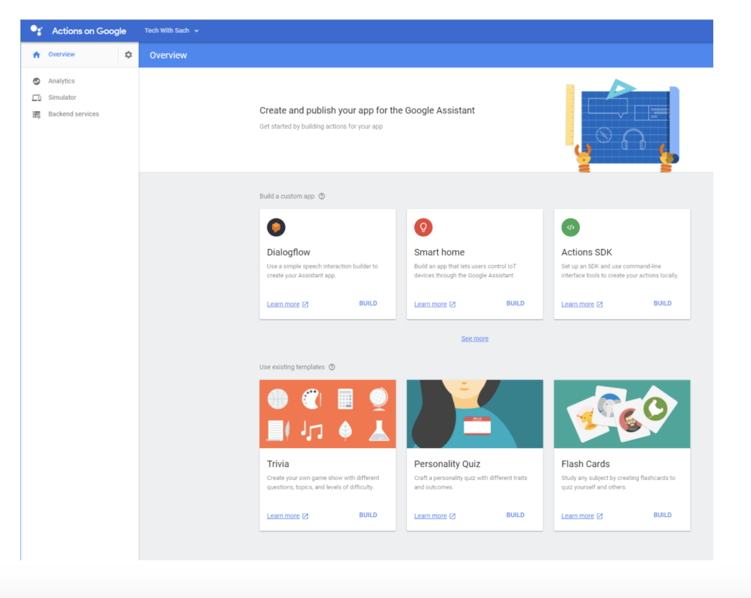 You can build a Google Action using a Google Template