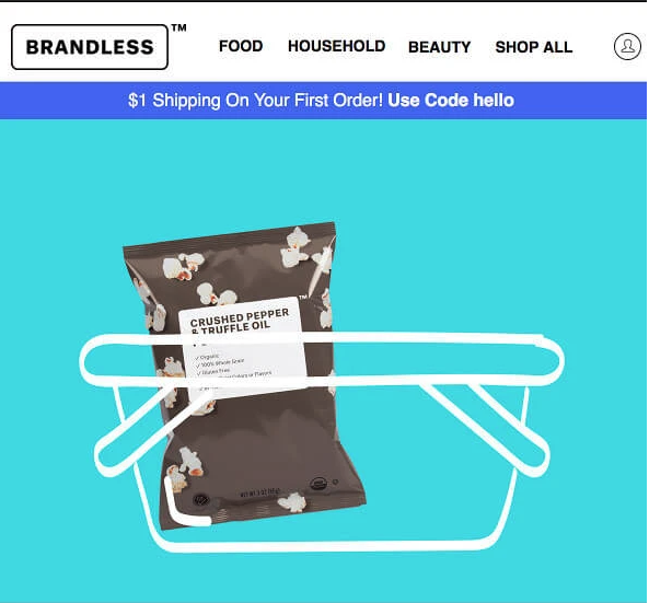 Brandless provides customers with an incentive to complete a purchase