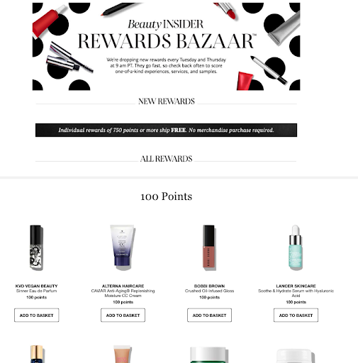 Sephora offers its customers loyalty points to keep them coming back