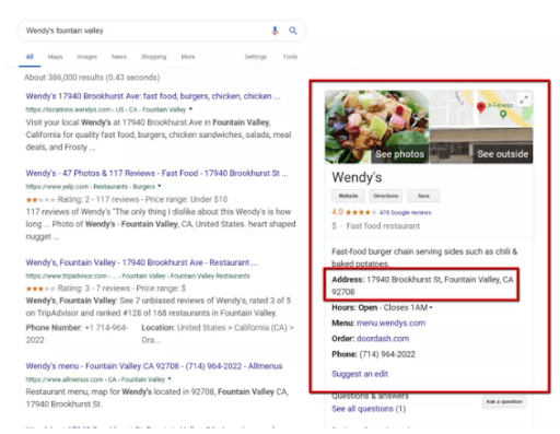 Screenshot of Wendy's fast-food local listing in Google SERP