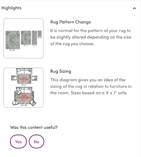 Example of how Wayfair uses its product page specs