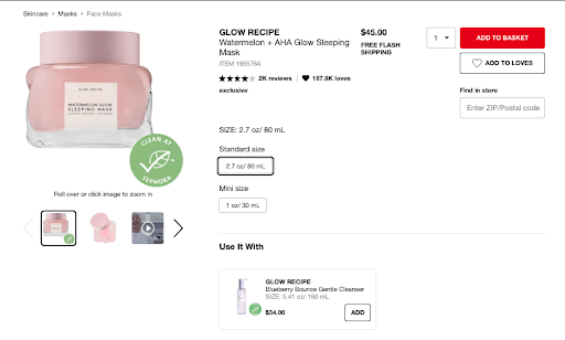 An example of how Sephora calls out their positive reviews at the top of their ecommerce pages