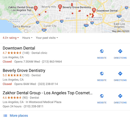 "Screenshot of a local search for ""best dentists in Los Angeles"