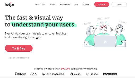An example of how Hotjar uses color for their call-to-actions on their landing pages