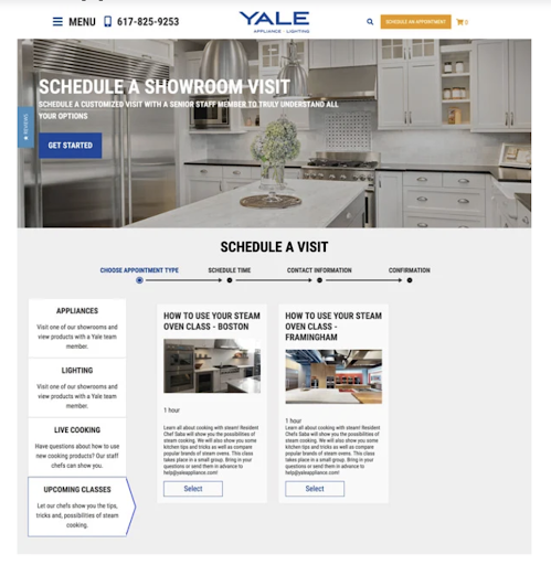 yale appliance landing page