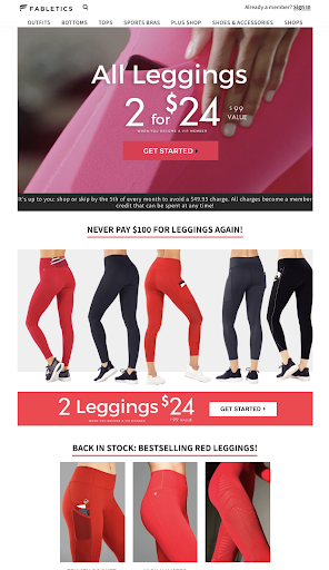 Fabletics landing page