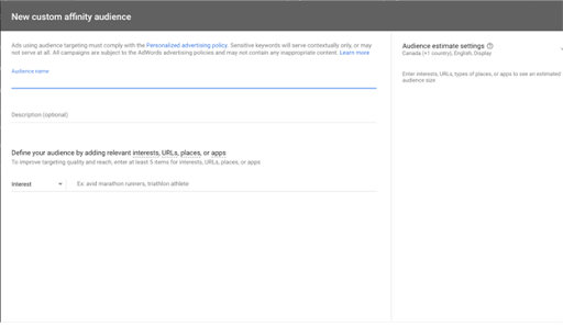 How to create custom affinity audiences in Google Ads