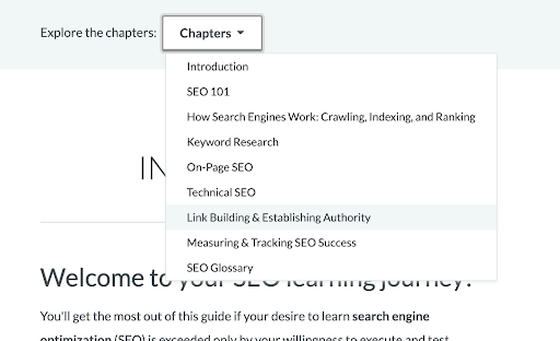 Moz's beginner guide to SEO page section menu