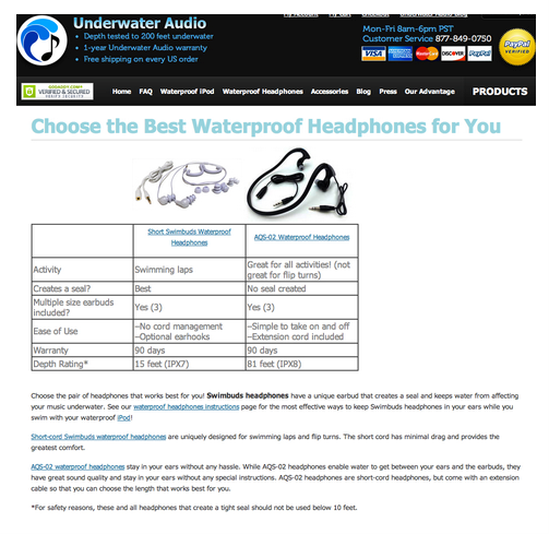 Underwater audio headphones example