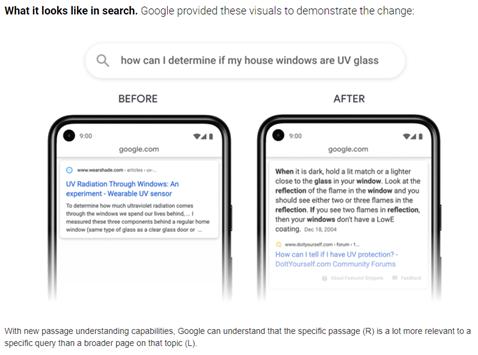 Google Passage Ranking Change