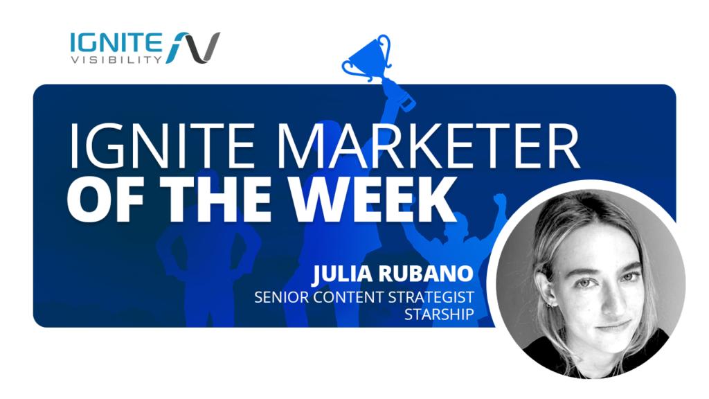 Julia Rubano Marketer of the Week